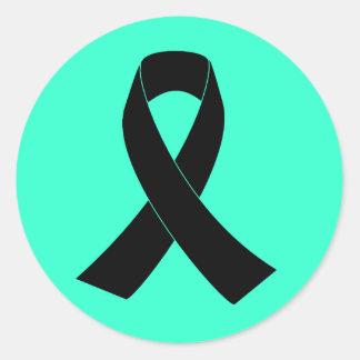 Conmemoración, cinta negra de luto de la pegatina redonda