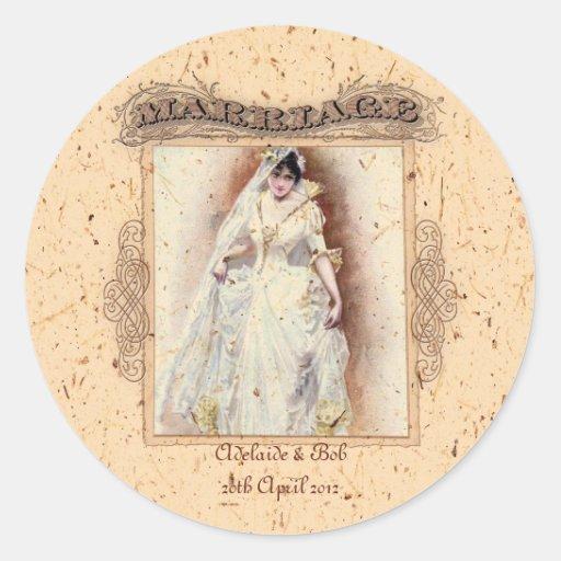 Conmemoración poner crema del boda de Victoriana Pegatina Redonda