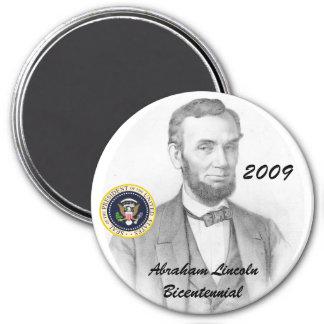 Conmemorativo bicentenario de Abraham Lincoln Imán Redondo 7 Cm