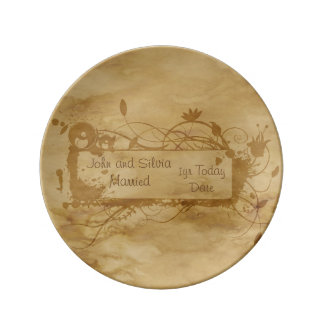 Conmemorativo weddinganniversary de la acuarela platos de cerámica