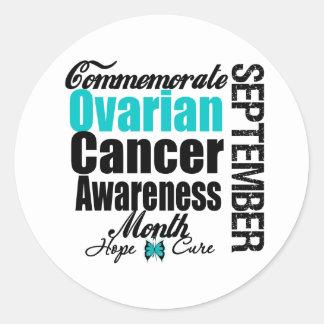 Conmemore el mes de la conciencia del cáncer etiqueta redonda