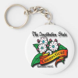 Conn Mountain Laurel Constitution State Basic Round Button Keychain
