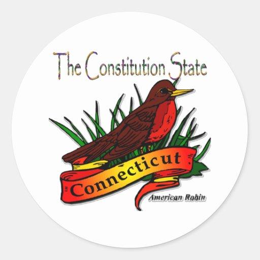 Conn Robin The Constitution State Round Sticker