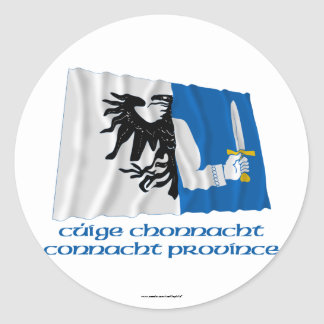 Connacht Province Waving Flag with Name Round Stickers