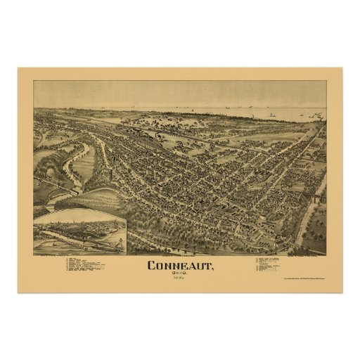 Conneaut, OH Panoramic Map - 1896 Posters