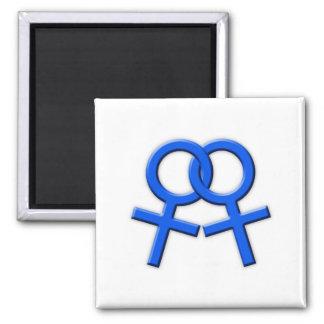 Connected Blue Female Symbols Magnet 02