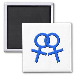 Connected Blue Female Symbols Magnet 03