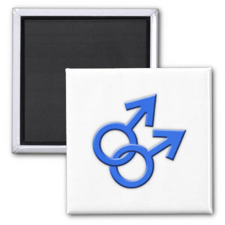 Connected Blue Male Symbols Magnet 02