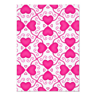 Connected Hearts Hot Pink on White Valentine's Day Card