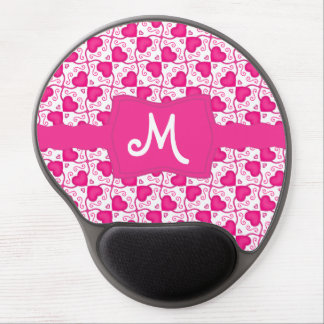 Connected Hearts Hot Pink on White Valentine's Day Gel Mouse Mats