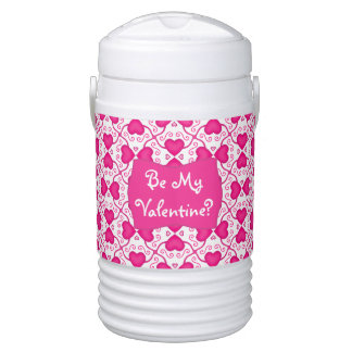 Connected Hearts Hot Pink on White Valentine's Day Igloo Beverage Cooler