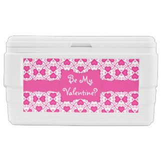 Connected Hearts Hot Pink on White Valentine's Day Igloo Chest Cooler