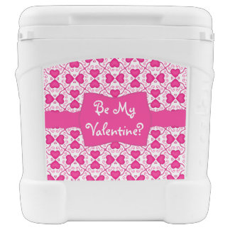Connected Hearts Hot Pink on White Valentine's Day Igloo Roller Cooler
