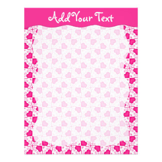 Connected Hearts Hot Pink on White Valentine's Day Letterhead