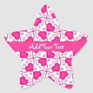 Connected Hearts Hot Pink on White Valentine's Day Star Sticker