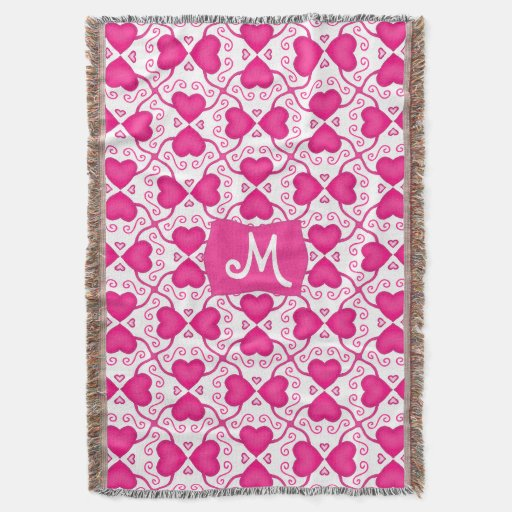 Connected Hearts Hot Pink on White Valentine's Day Throw Blanket