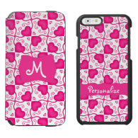 Connected Hearts Hot Pink on White Valentine's Day Incipio Watson™ iPhone 6 Wallet Case