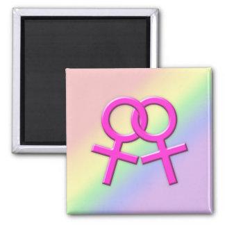 Connected Pink Female Symbols Magnet 01