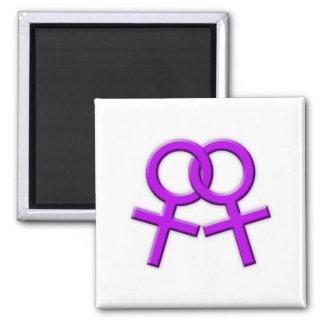 Connected Purple Female Symbols Magnet 02