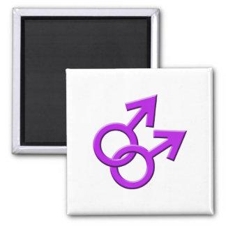 Connected Purple Male Symbols Magnet 03