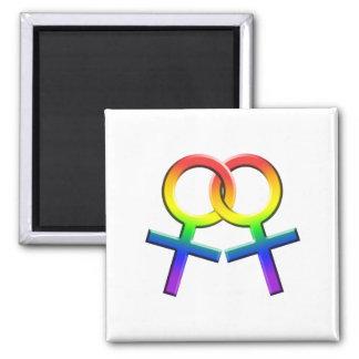 Connected Rainbow Female Symbols Magnet 03