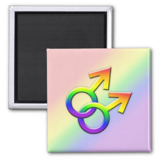 Connected Rainbow Male Symbols Magnet 01