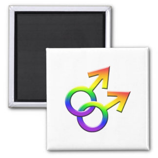 Connected Rainbow Male Symbols Magnet 03