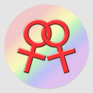 Connected Red Female Symbols Stickers 01