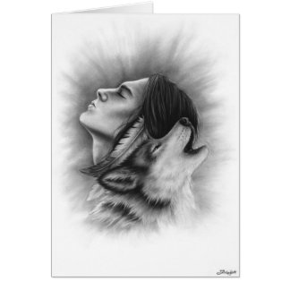 Connected Souls man wolf native Greeting Card