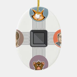 Connected to major processor ceramic ornament