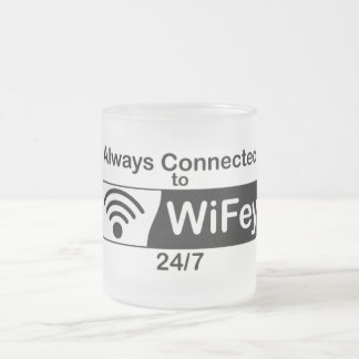 Connected to WiFey 10 Oz Frosted Glass Coffee Mug