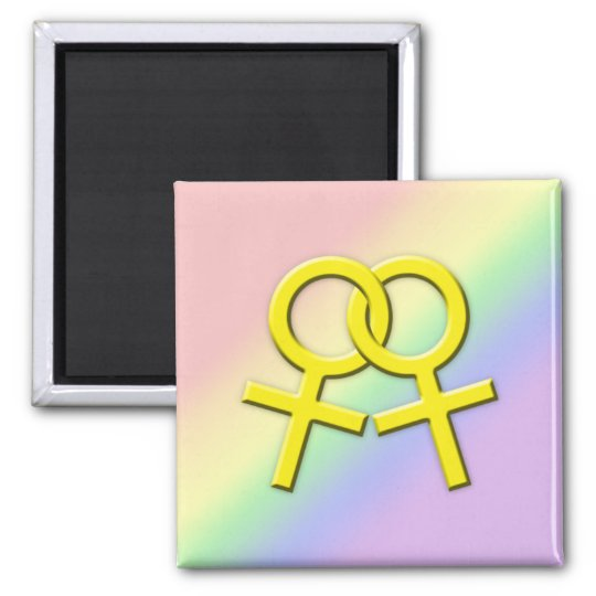 Connected Yellow Female Symbols Magnet 01