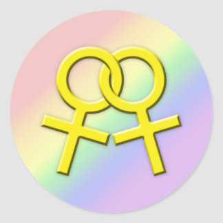 Connected Yellow Female Symbols Stickers 01