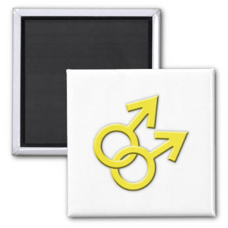 Connected Yellow Male Symbols Magnet 02