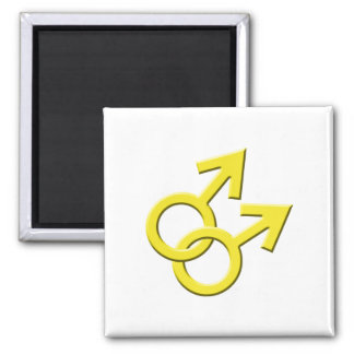 Connected Yellow Male Symbols Magnet 03