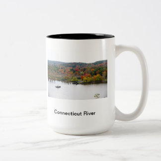 Connecticu River in the fall Two-Tone Coffee Mug
