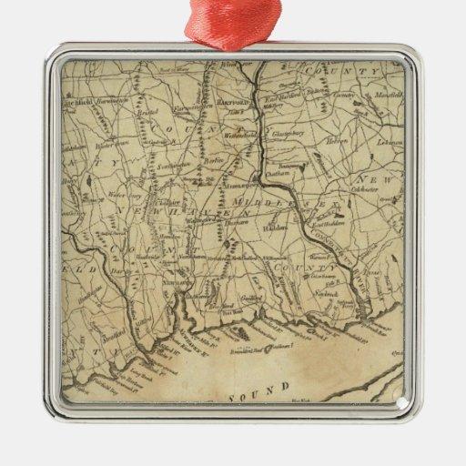 Connecticut 2 adorno navideño cuadrado de metal