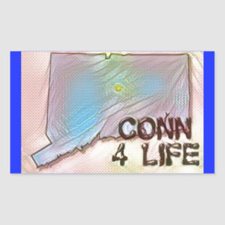 """Connecticut 4 Life"" State Map Pride Design Rectangular Sticker"