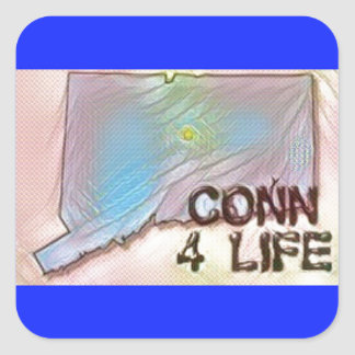 """Connecticut 4 Life"" State Map Pride Design Square Sticker"