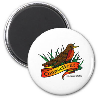 Connecticut American Robin 2 Inch Round Magnet