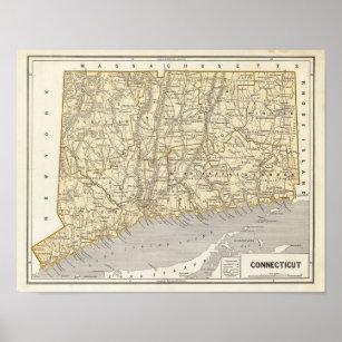Connecticut Atlas Map Poster