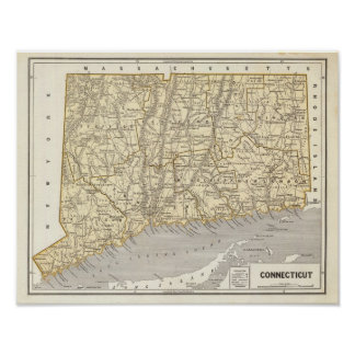 Connecticut Atlas Map Poster