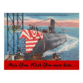Connecticut, Atomic Submarine launching Postcard