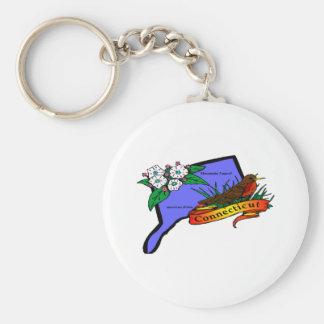 Connecticut Basic Round Button Keychain