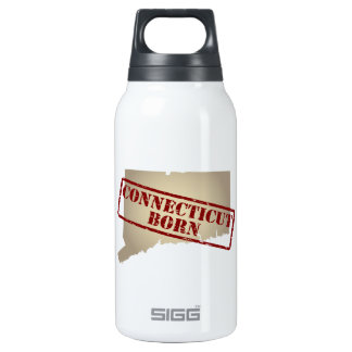 Connecticut Born - Stamp on Map Insulated Water Bottle