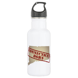 Connecticut Born - Stamp on Map Stainless Steel Water Bottle