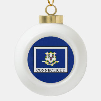Connecticut Ceramic Ball Christmas Ornament