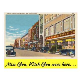Connecticut, Chapel Street, New Haven Postcard