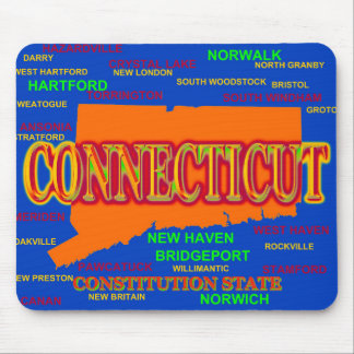 Connecticut Cities and Towns State Pride Map Mouse Pad