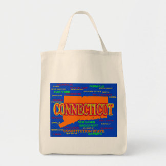 Connecticut Cities and Towns State Pride Map Tote Bag